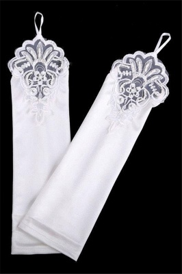 Fashion Satin Fingerless Elbow Length Party Gloves with Lace_5