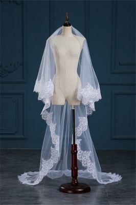 Luxury Tulle Lace Applique Edge Wedding Veil with Sequined_4