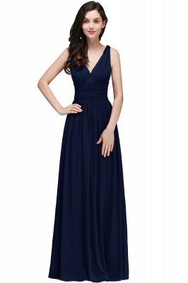 COLLINS | V-Neck A-line Floor-length Burgundy Chiffon Evening Dresses_3