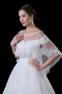 Cute Tulle /Lace White Sleeveless Wedding Wraps with Appliques_3