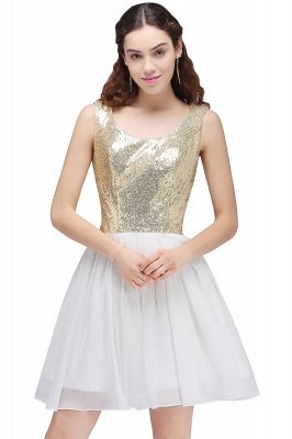 CAROLYN | A-line Scoop Short Sequins White Cute Homecoming Dresses with Sequins_1
