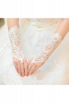 Lace Fingerless Ellbogen Länge Hochzeit Handschuhe mit Applikationen_1