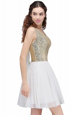 CAROLYN | A-line Scoop Short Sequins White Cute Homecoming Dresses with Sequins_4