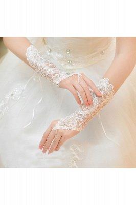 Lace Fingerless Ellbogen Länge Hochzeit Handschuhe mit Applikationen_4