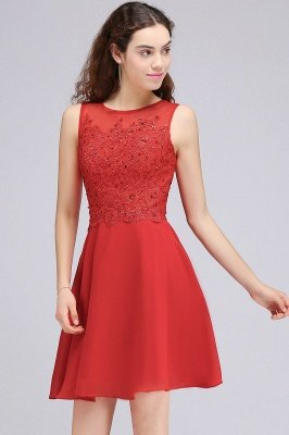 CASEY | A-line Short Chiffon Red Homecoming Dresses with Lace Appliques_5