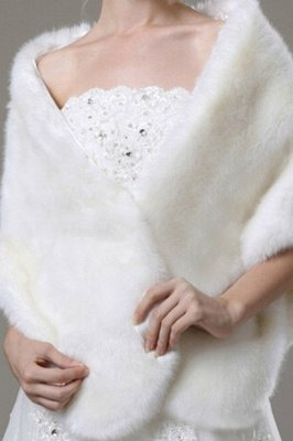 Luxe Chaud Tulle Blanc Demi-Manches Casual Wedding Wraps_3