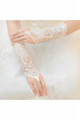 Lace Fingerless Ellbogen Länge Hochzeit Handschuhe mit Applikationen_5
