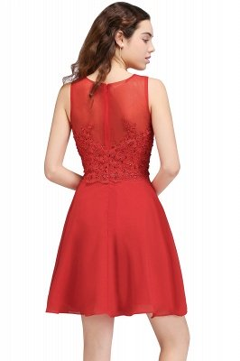 CASEY | A-line Short Chiffon Red Homecoming Dresses with Lace Appliques_3