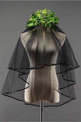 Guantes de boda sexy de tul negro borde de la cinta