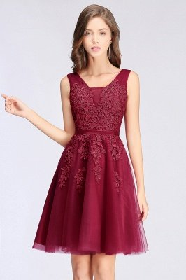 ADDILYNN | A-line Knee-length Tulle Prom Dress with Appliques_4