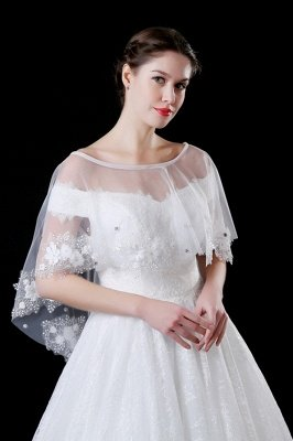 Cute Tulle /Lace White Sleeveless Wedding Wraps with Appliques_1