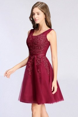 ADDILYNN | A-ligne longueur au genou Tulle robe de bal avec des appliques_7