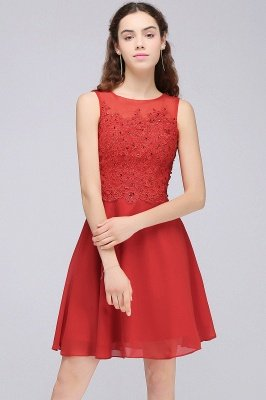 CASEY | A-line Short Chiffon Red Homecoming Dresses with Lace Appliques_6