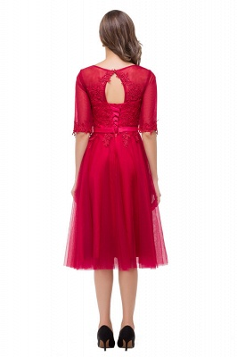 HARPER | A-line Crew Knee-length Half Sleeve Sashes Bridesmaid Dresses With Applique_3