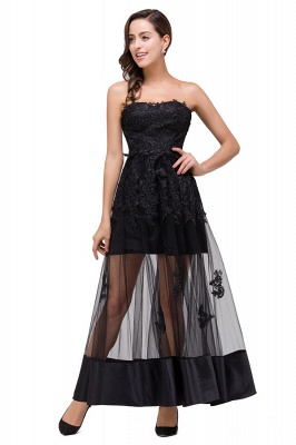 GWENDOLYN | Sexy A-line Strapless Knee-length Lace-Up Black Prom Dresses With Applique_1