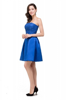 HANA | A-line Strapless Mini Lace-up Sashes Bridesmaid Dresses With Applique_8