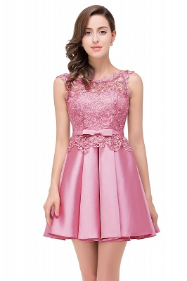 ADELAIDE | A-line Knee-length Satin Homecoming Dress with Lace_3