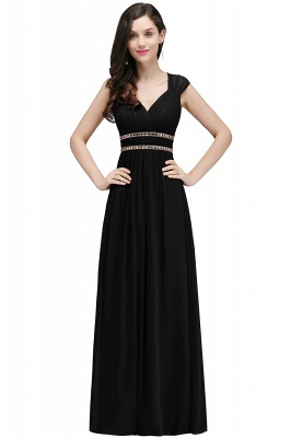 ALISON | Mantel V-Ausschnitt Burgund Chiffon lange Abendkleider mit Perlen_8