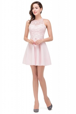 HARMONI | Cute A-line Crew Mini Bridesmaid Dresses With Applique_4