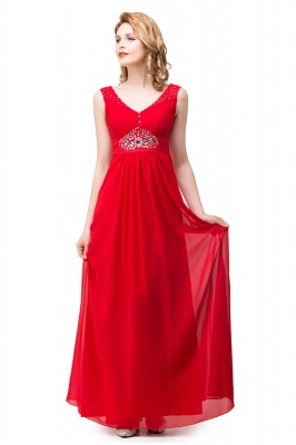 HANNAH | A-line V-neck Knee-length Ruffle Red Bridesmaid Dresses With Crystal_5