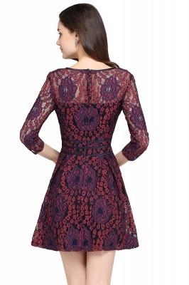 Elegantes Spitze Kleid Kurz | A-Linie Kleider Mit Langarm_2