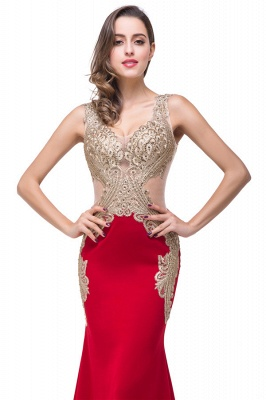 Sweep-length Red Formal Dresses With Applique