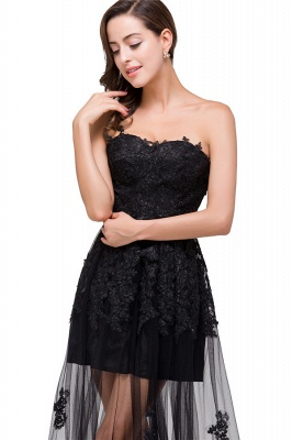 GWENDOLYN | Sexy A-line Strapless Knee-length Lace-Up Black Prom Dresses With Applique_5