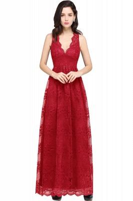 CHAYA | Sheath V-neck Floor-length Lace Navy Blue Prom Dress_1