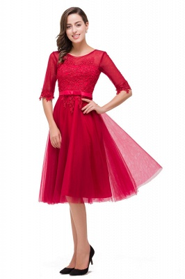 HARPER | A-line Crew Knee-length Half Sleeve Sashes Bridesmaid Dresses With Applique_6