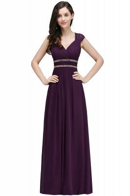 ALISON | Gaine col v en mousseline de soie bordeaux longues robes de soirée avec des perles_3