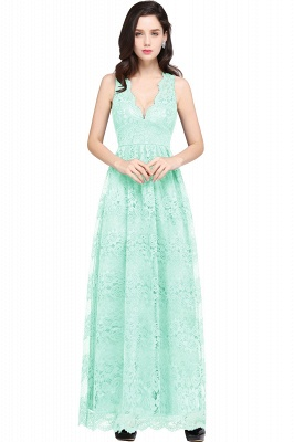 CHAYA | Sheath V-neck Floor-length Lace Navy Blue Prom Dress_8