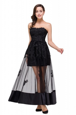 GWENDOLYN | Sexy A-line Strapless Knee-length Lace-Up Black Prom Dresses With Applique_8