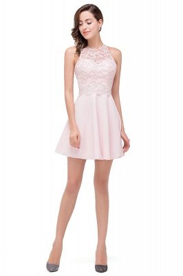 Pearl Pink A-line Crew Mini Bridesmaid Dresses With Applique