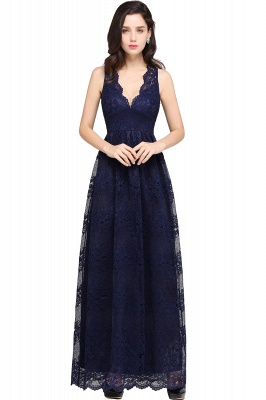 CHAYA | Sheath V-neck Floor-length Lace Navy Blue Prom Dress_6