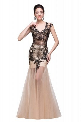 Champagne Prom Dresses With Applique