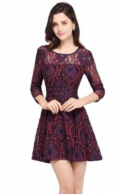 Elegantes Spitze Kleid Kurz | A-Linie Kleider Mit Langarm_1