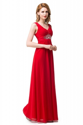 HANNAH | A-line V-neck Knee-length Ruffle Red Bridesmaid Dresses With Crystal_6