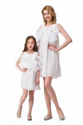 HELENA | A-line Mini Chiffon Jewel Strapless Bowknot Lace Mother Daughter Dresses_6