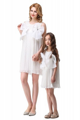 HELENA | A-line Mini Chiffon Jewel Strapless Bowknot Lace Mother Daughter Dresses_7