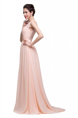A-line Crew Floor-length Sash Chiffon Bridesmaid Dresses With Applique