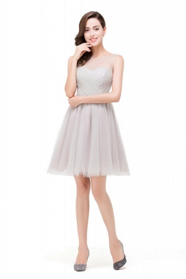Elegant A-line Crew Mini Silver Bridesmaid Dresses With Ruffle