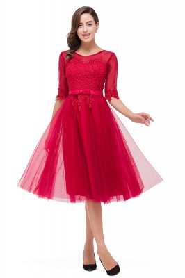 HARPER | A-line Crew Knee-length Half Sleeve Sashes Bridesmaid Dresses With Applique_1