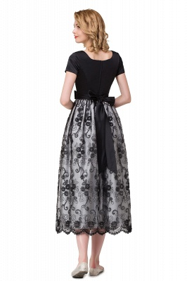 HEATHER| A-line Short Bowknot Flower Black Lace Mother Daughter Dresses_9