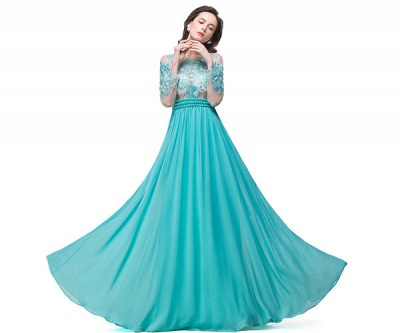 Long-Sleeve Floor-length Sash Formal Dresses With Sashes