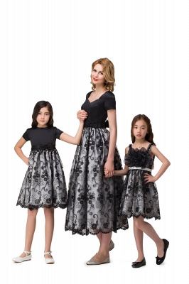 HEATHER| A-line Short Bowknot Flower Black Lace Mother Daughter Dresses_4