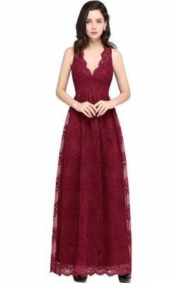 CHAYA | Sheath V-neck Floor-length Lace Navy Blue Prom Dress_2