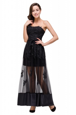 GWENDOLYN | Sexy A-line Strapless Knee-length Lace-Up Black Prom Dresses With Applique_7