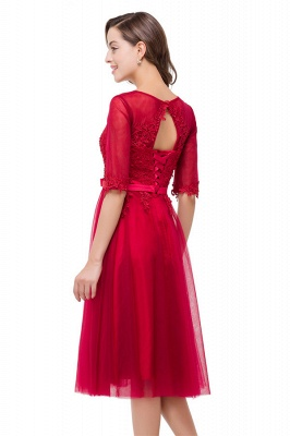 HARPER | A-line Crew Knee-length Half Sleeve Sashes Bridesmaid Dresses With Applique_8