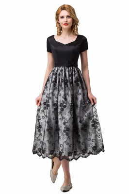 HEATHER| A-line Short Bowknot Flower Black Lace Mother Daughter Dresses_5