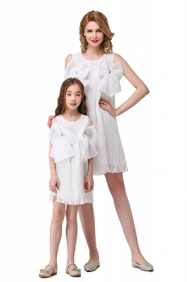 HELENA | A-line Mini Chiffon Jewel Strapless Bowknot Lace Mother Daughter Dresses_8